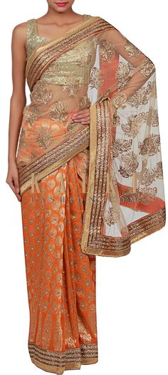 Buy Online from the link below. We ship worldwide (Free Shipping over US$100) http://www.kalkifashion.com/half-and-half-saree-in-beige-and-orange-adorn-in-kundan-butti-only-on-kalki.html