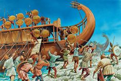 Pylos and Sphacteria 425 BC. The Spartans attack from the sea - art by Peter Dennis