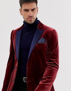 ASOS DESIGN SKINNY TUXEDO BLAZER IN RED VELVET - RED. #asosdesign #cloth