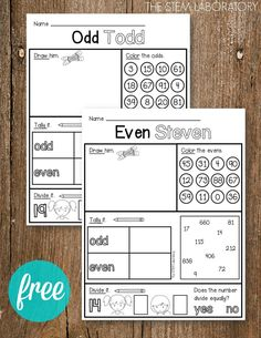 I love teaching kids the difference between odd and even numbers because once they know the trick, they can easily sort numbers as small as 2 and as large as 419,472,834. These free odd and even activity sheets are perfect for morning work, math stations or homework practice! Odd Todd and Even Steven To get started with the lesson, I introduced kids to two friends: