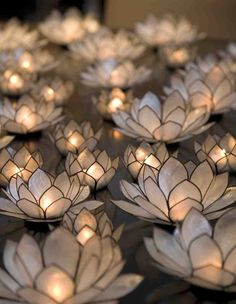 Group a bunch of Lotus tealight candle holders together for a romantic festive moment.  #MediumMaria