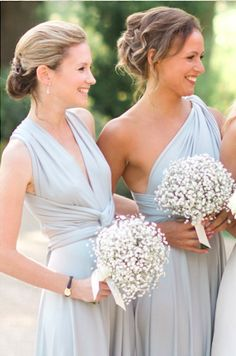 8ae08f0ad33 New Light Blue Covertible Bridesmaid Dresses Pleated Floor length Country  Beach Wedding Guest Party Gowns Cheap Long Prom Dress