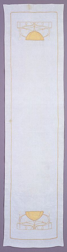 "Table Runner, c.1905. 6 ft.-13/16 in. x 18-7/8"". Long and narrow rectangle with appliqued and embroidered stylized poppies and branches at each end. Pale yellow and beige on off-white. Hemmed on four sides. Smithsonian Cooper-Hewitt, Nat'l Design Museum, 1987-41-1. This table runner is medium: linen foundation, linen applique, linen and mercerized cotton embroidery technique: plain weave foundation; applique of plain weave and embroidery using stem, satin and bottonhole stitches."