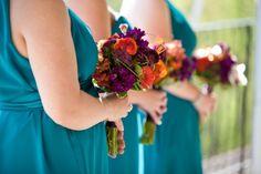Teal Purple Orange Bridesmaids  |  Outdoor Spring Maryland Wedding Ceremony: Shannon + Adam