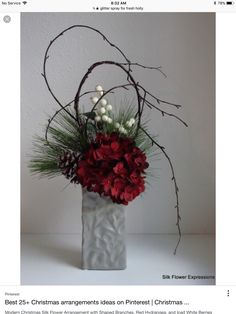 Modern Christmas Silk Flower Arrangement with Shaped Branches, Red Hydrangea, and Iced White Berries. Christmas Flower Arrangements, Modern Flower Arrangements, Christmas Flowers, Winter Flowers, Christmas Centerpieces, Xmas Decorations, Silk Flowers, Christmas Wreaths, Christmas Candles