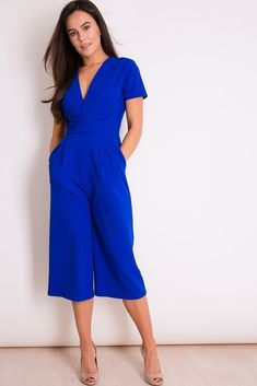 7ee91d8cb6 Megan Cobalt Short Sleeve Culotte Jumpsuit. Virgo Boutique Fashion