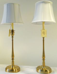 Two Ralph Lauren Home Tall Darien Candlestick Antiqued Brass / Gold Table Lamps