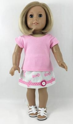 Made For 18 Inch Dolls Short Sleeved T Shirt and Skirt Featuring Pink Poodles