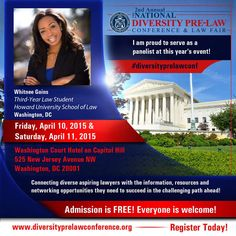 Meet Whitnee Goins, Third-Year Law Student at Howard University School of Law, at the 2nd Annual National Diversity Pre-Law Conference and Law Fair 2015!  The conference is FREE and open to the public! Seating is limited! Register today to reserve your spot! www.diversityprelawconference.org #DiversityPreLawConf