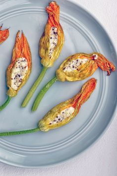 Baked Squash Blossoms Stuffed with Goat's Cheese #vegetarian #appetizer | Shiny Happy Bright