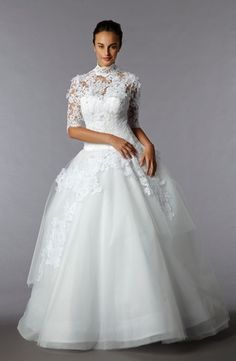 Edgardo Bonilla: Princess/Ball Gown Wedding Dress with High Neck Neckline and Natural Waist Waistline