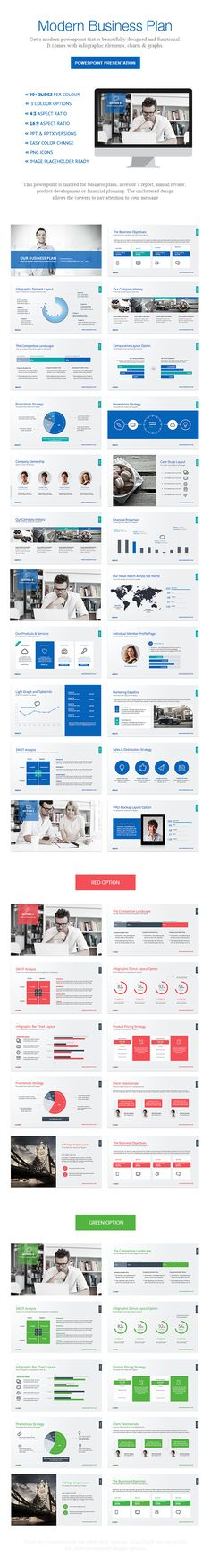 Idea para presentaciones de productos, servicios, planes, ideal para presentaciones con diapositivas Business Plan Powerpoint by Design District, via Behance