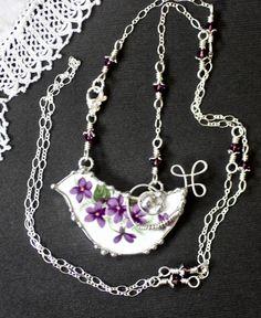Necklace Broken China Jewelry Bird Necklace by Robinsnestcreation1
