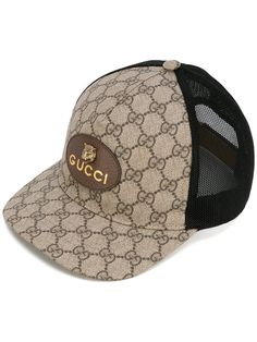 Gucci Gg Supreme Baseball Cap With Feline Head In Neutrals dc289e3ab7e2