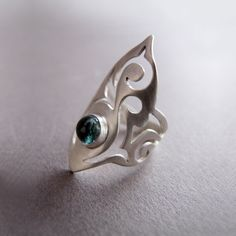 Sterling Silver Ring with Tourmaline, Elf Ring, October Birthstone Ring by Jewellietta on Etsy https://www.etsy.com/listing/87298771/sterling-silver-ring-with-tourmaline-elf