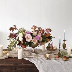 Celebrating the season's shift by taking part in a gorgeous collaboration. Thank you to all who played a role in this perfect autumn day: Florals: Table runner: Photos: Sweets: Venue: Wedding Table Centerpieces, Floral Centerpieces, Wedding Decorations, Table Decorations, Flower Centrepieces, Beautiful Flower Arrangements, Floral Arrangements, Beautiful Flowers, Floral Wedding