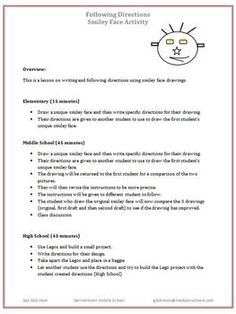 Following directions worksheets for middle schoolers