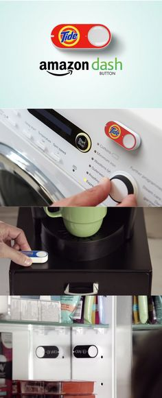 """If you thought Amazon's new Home Services feature was a gift to lazy people everywhere, you were so wrong. Today, the company rolled out a new product called the Amazon Dash Button. It's a real, literal button that you attach to your favorite home products in the kitchen, bathroom, etc., and push when you are running low. """"Place it. Press it. Get it,"""" is the tagline, and it's available only for Prime members who request an invite."""