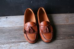 Vintage Mens Casual Dress Shoe Loafer Moccasin Style Tan Leather With Kilties From Nowvintage on Etsy