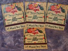 Rare Vintage Lion Match Co. Merry Christmas Globe Casket 4 Giant Match Book Lot