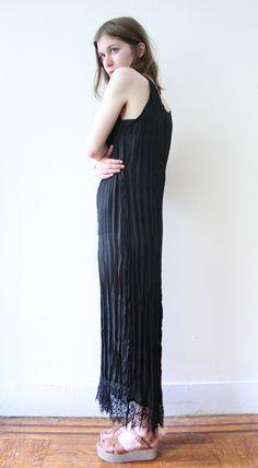 Vintage 90s does 20s Black Lace Maxi Dress. $68.00, via Etsy. #grandmamarie #vintage #fashion #style #clothing #womens #dress #lbd