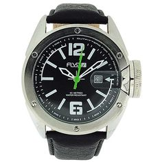 Fly53.03 Gents Analogue Padded Textured Black Leather Strap Sports-Casual Watch