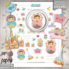 Matryoshka Stickers, Planner Stickers, Russian Doll, Doll Stickers, kawaii Doll, Printable Stickers, Planner Accessories, Erin Condren