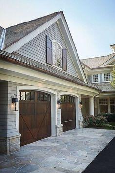 Best Exterior Paint Schemes With Stone 27 Ideas Brown Garage Door, Garage Door Trim, Exterior Front Doors, Exterior Siding, Exterior Design, Garage Doors, Gray Siding, Garage Door Colors, Wood Siding