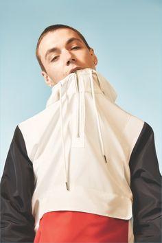 Yuri Pleskun rocks a color blocked jacket for Forever 21's spring 2017 campaign.