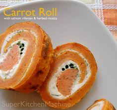 Veggie Spirals: pureed carrot pancakes stuffed with salmon, ricotta and chives