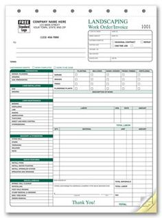 6570; Landscaping Work Order/Invoice Form