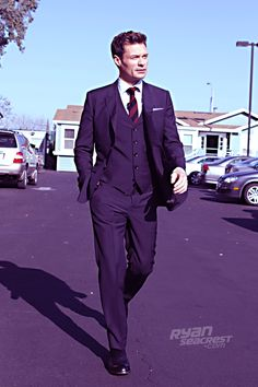 "Ryan Seacrest minutes before ""American Idol's"" March 22 episode. Suit by @Burberry, shoes by George Esquivel."