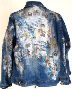 Jeansjacke mit Stoffmalfarbe und Stempeln - außergewöhnlich!