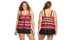 New Ava & Viv Magenta Multi-Color Tankini Swimsuit Top Plus Size 24W  3x #AvaViv #TankiniTop