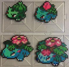 - Bulbasaur Family - Pokemon perler beads by TehMorrison on DeviantArt Pyssla Pokemon, Hama Beads Pokemon, Diy Perler Beads, Perler Bead Art, Pearler Beads, Pearler Bead Patterns, Perler Patterns, Pearl Beads Pattern, Modele Pixel Art