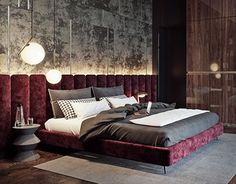 Luxury Apartment Interior Decorating And Design Ideas 18 Bedroom Bed Design, Bedroom Red, Modern Bedroom Design, Bedroom Decor, Trendy Bedroom, Luxury Homes Interior, Luxury Home Decor, Home Interior, Interior Design