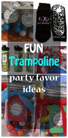 Fun trampoline party favor ideas for kids. Easy party favors ideas for childrens trampoline birthday parties.