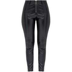 Lissia Black PU Zip Front Skinny Trousers (510 UYU) ❤ liked on Polyvore featuring pants, pu pants, skinny trousers, skinny pants and zip front pants