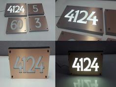 Brushed Copper Engraved Front lit LED Address Number Sign