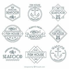 retro seafood badges