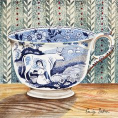 Emily Sutton has created a set of  beautiful watercolours inspired by the collection of Victorian crockery at the house she shares with the artist, Mark Hearld, in York. Museum Of Childhood, Illustrations Posters, Pretty Pictures, Printmaking, Watercolor Paintings, Watercolour, Magical Thinking, Mood Swings, Teacup