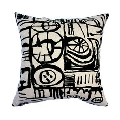 Cushion - Large Scale 'Sketch' Design Black Thing 1, Royal Academy Of Arts, Sketch Design, Cushion Pads, Natural Linen, Screen Printing, I Shop, Mid Century, Cushions