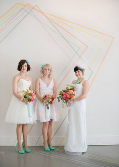 Washi tape wedding backdrop.