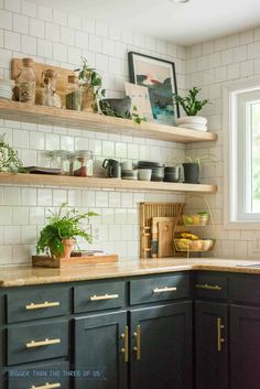 DIY Open Shelving Kitchen Guide - Bigger Than the Three of Us. Open Shelving in Kitchen. Plant decor in the kitchen. Open Kitchen Cabinets, Floating Shelves Kitchen, Kitchen Tops, New Kitchen, Glass Shelves, Open Shelf Kitchen, China Cabinets, Wall Shelves, Open Shelving In Kitchen