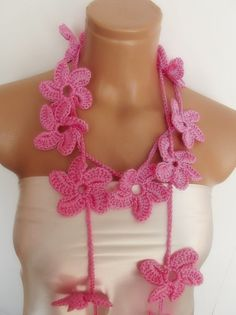 hand crocheted floral scarf lariat  necklace baby by smilingpoet, $21.90