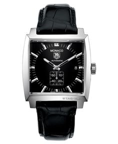 Tag Heuer Men's Swiss Automatic Monaco Black Croc Embossed Leather Strap Watch 37mm WW2110.FC6177