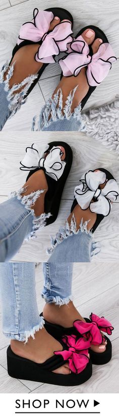 Casual Thick Non-slip Bow Slippers - Beach Mode Bow Shoes, Cute Shoes, Me Too Shoes, Keto Diet Side Effects, Summer Shoes, Summer Sandals, How To Run Longer, Shoe Game, Fashion Shoes