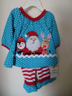 RARE EDITIONS INFANT GIRLS 0-3 MTH 2-PIECE CHRISTMAS OUTFIT SANTA REINDEER NWT #RareEditions #Holiday