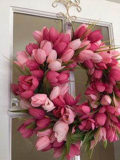 Tulips Wreath Decorative Wreath Tulip Wreath by DawsonDesignsDecor