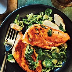 Superfast Entrées Under 300 Calories  | Maple-Glazed Chicken with Apple-Brussels Sprout Slaw | MyRecipes.com